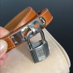 Hermes Accessories - HERMES Kelly Silver Dial Brown Leather Watch
